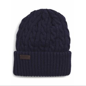 Barbour Balfron navy blue cable knit beanie